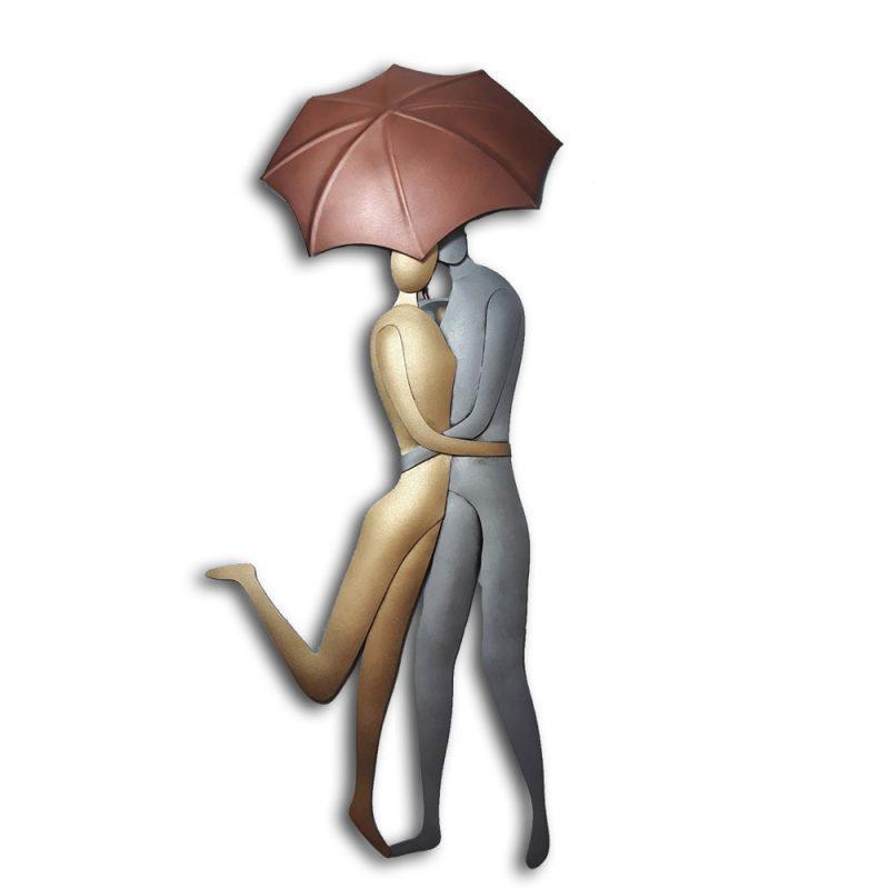 Χειροποίητο μεταλλικό ζευγάρι με ομπρέλα, επιτοιχιο