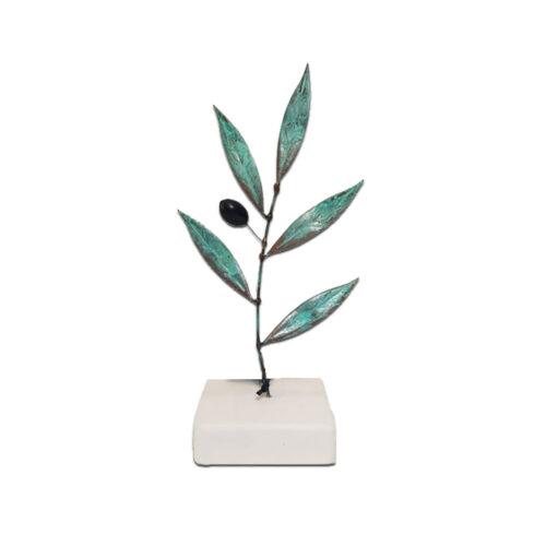 Κλαδι ελιας μεταλλικο με πρασινα φυλλα, επιτραπεζιο