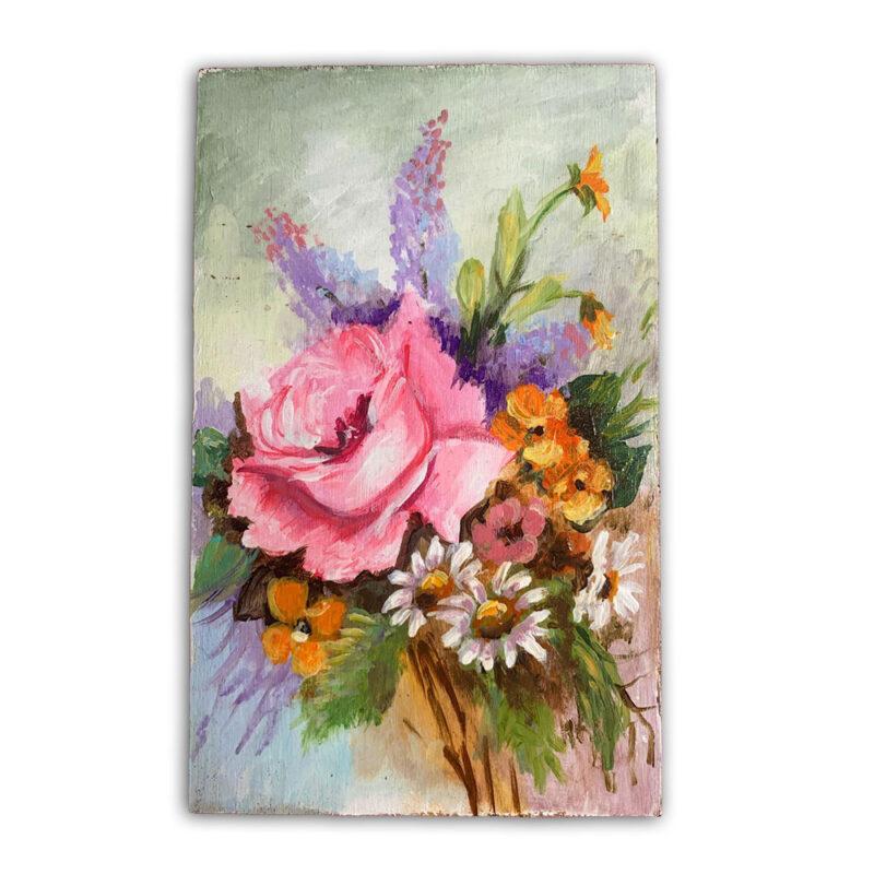 λουλουδια ζωγραφικη σε ξυλο