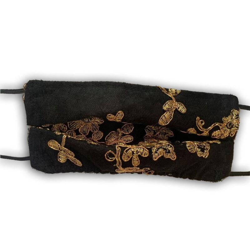μασκα προστασιας μαυρη με λουλουδια