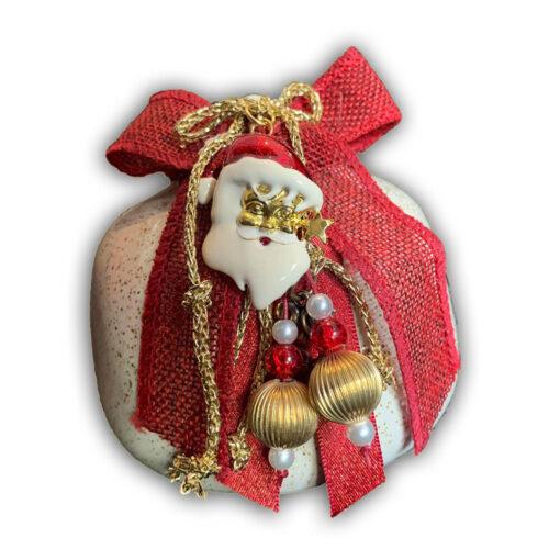 Χειροποιητο κεραμικο ροδι κοκκινο, με ροδι με Άγιο Βασίλη