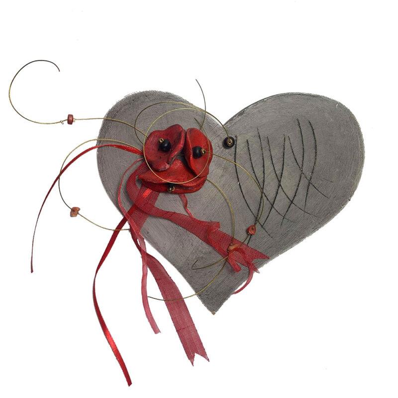 Χειροποιητη Ξυλινη Καρδια με κεραμικες τουλιπες, επιτοιχιο