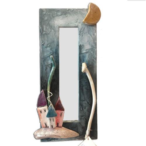 Καθρεπτης Τοιχου Ξυλινος Πρασινος με Πολυχρωμα Σπιτακια