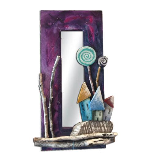 Καθρεπτης Τοιχου Ξυλινος Μωβ με Πολυχρωμα Σπιτακια