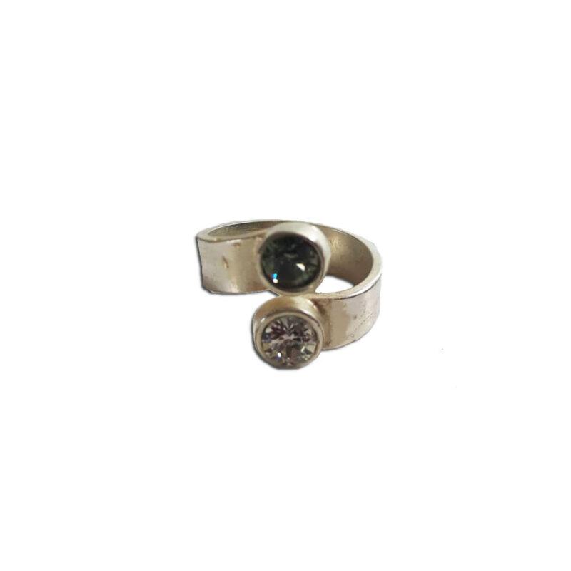 Δαχτυλιδι σε ασημι χρωμα με κρυσταλλα Swarovski
