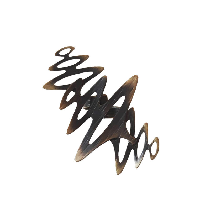 """Δαχτυλιδι """"Κυμα"""" απο ορειχαλκο σε χρυσο μαυρο χρωμα"""