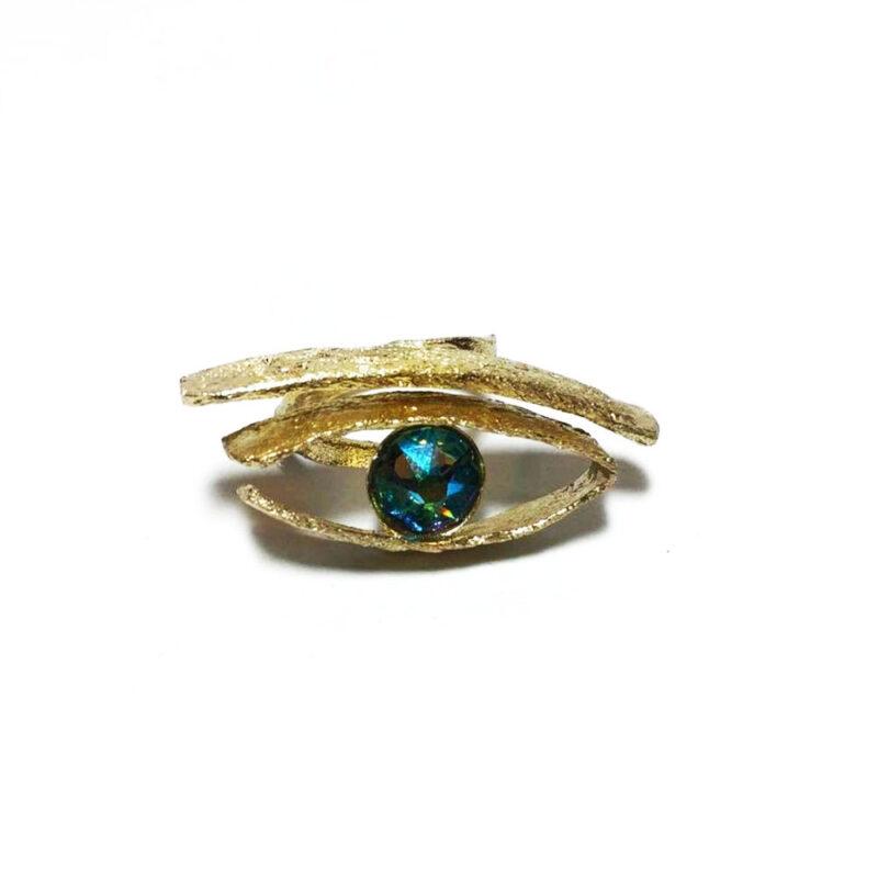 Δαχτυλιδι Χειροποιητο Ματι με μπλε χαντρα στρας