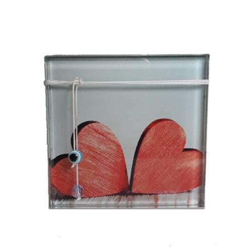 Διακοσμητικο απο γυαλι με καρδιες σε λευκη αποχρωση