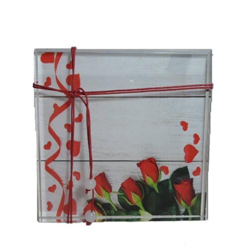 Διακοσμητικο απο Plexiglass με κοκκινα τριανταφυλλα, επιτραπεζιο