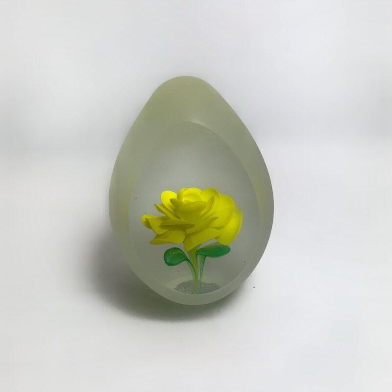 Γυαλινο Αυγο με Κιτρινο Τριανταφυλλο,επιτραπεζιο διακοσμητικο
