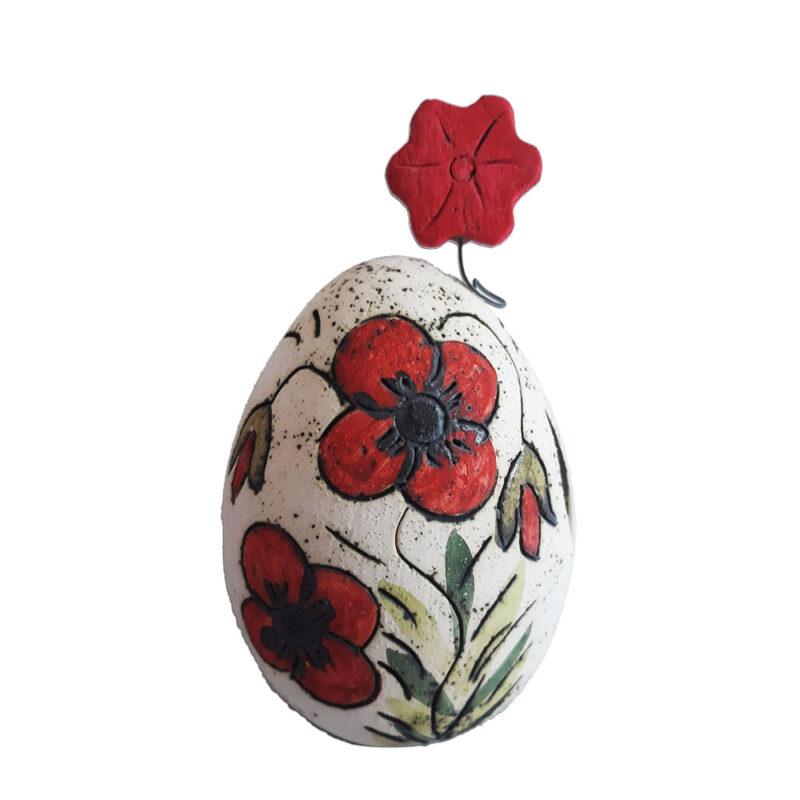 Πασχαλινο Αυγο Κηροπηγιο με σχεδιο Λουλουδια χειροποιητο