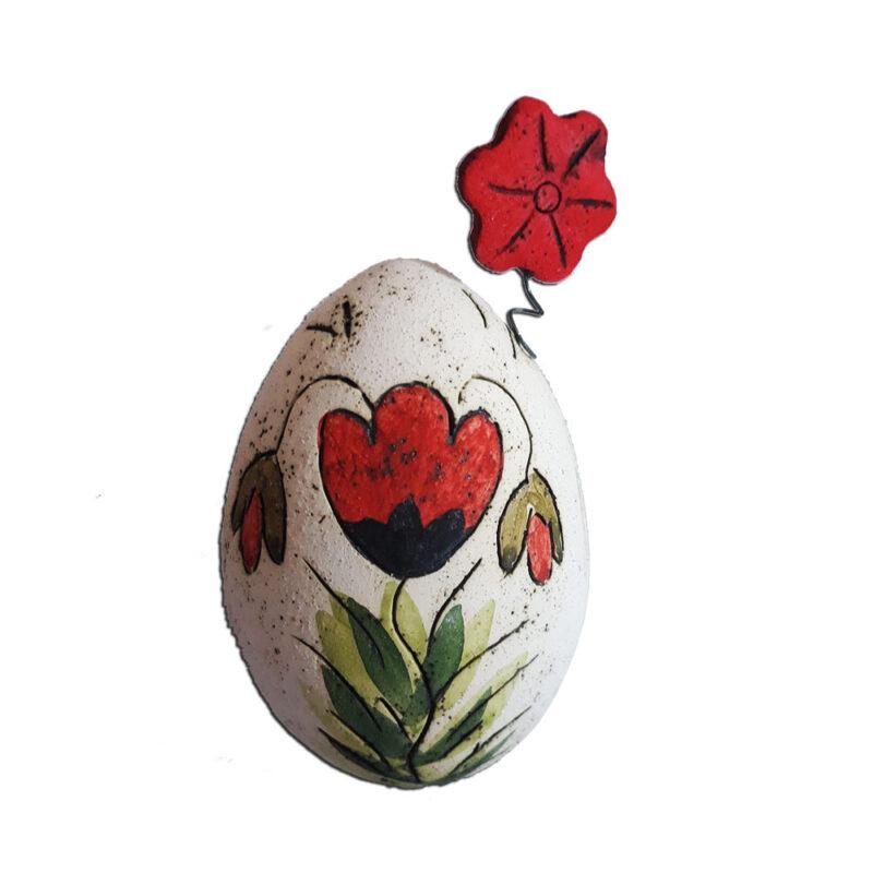 Πασχαλινο Αυγο Κηροπηγιο με σχεδιο Παπαρουνα Χειροποιητο
