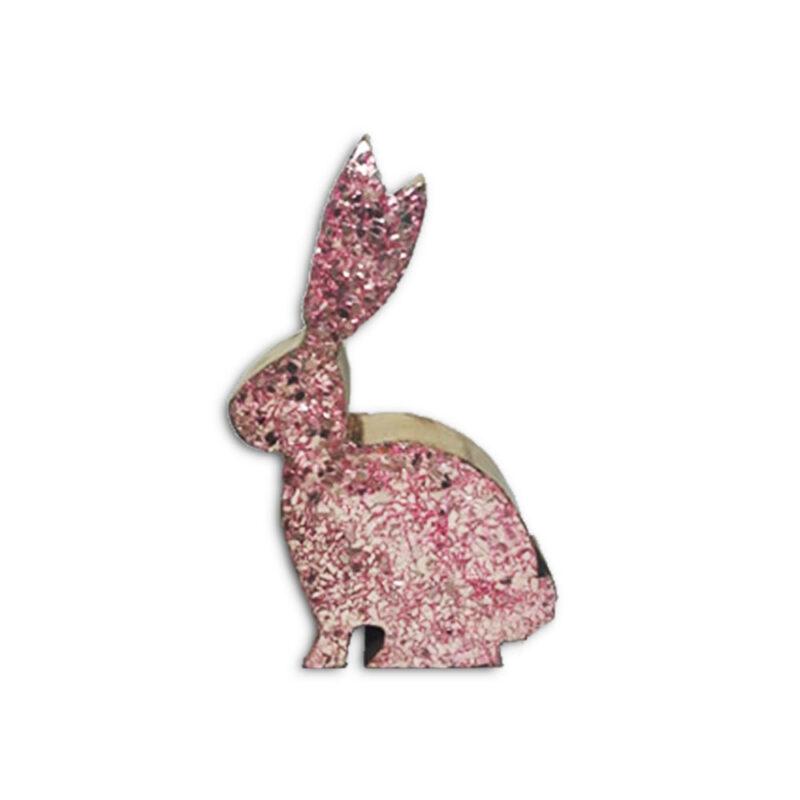 Πασχαλινο Διακοσμητικο Κουνελακι Ξυλινο με Ροζ Γκλιτερ