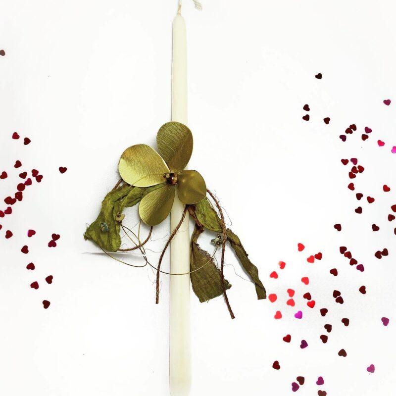 Λαμπάδα Μεταλλοκοπή με Λουλούδι Χειροποίητη