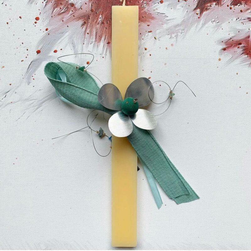 λαμπαδα χειροποιητη με λουλουδι μεταλλικο