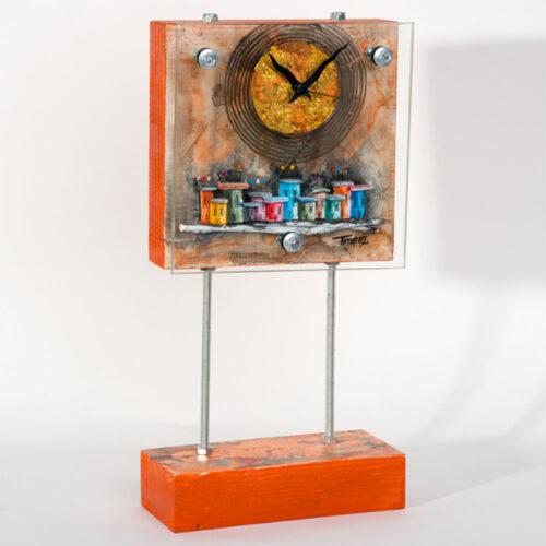 Ρολοι Επιτραπεζιο Τετραγωνο Σε Πορτοκαλι Χρωμα Με Σπιτακια,χειροποιητο