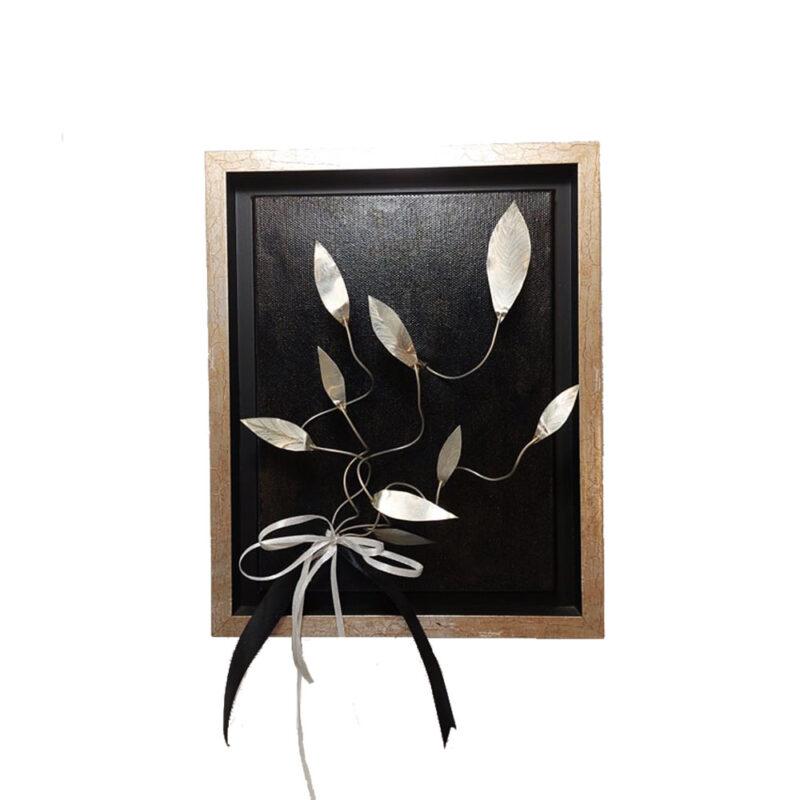 Κάδρο Χειροποίητο με Μεταλλικά Φύλλα Ελιάς σε ασημί χρωμα