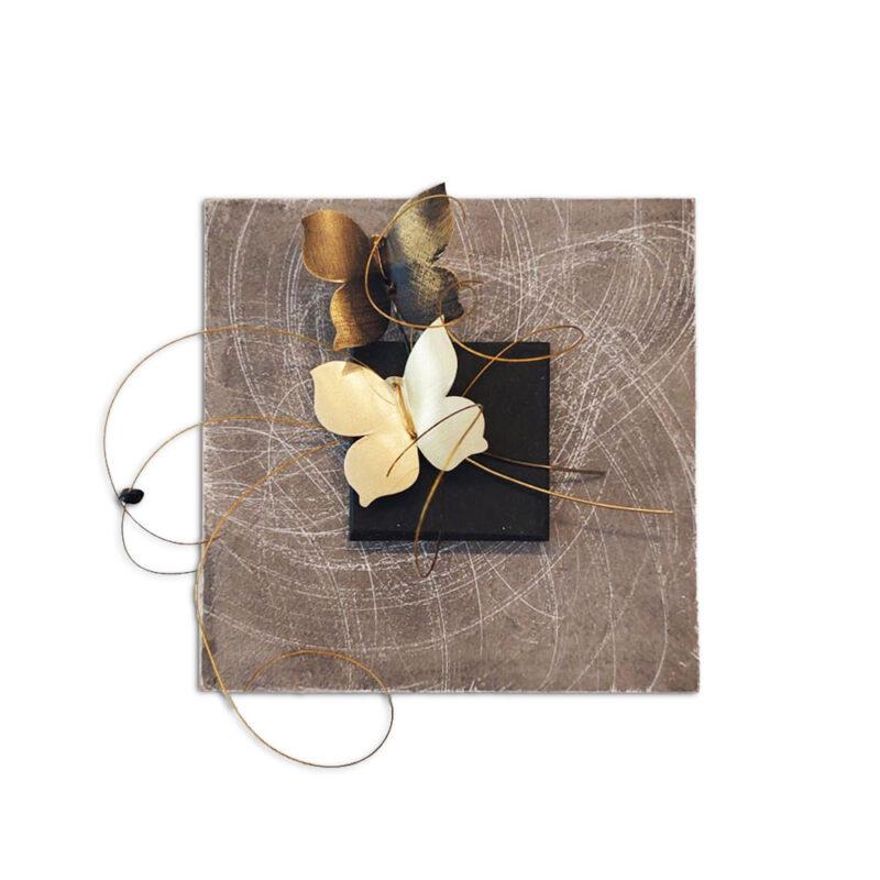 Καδράκι Ξύλινο με Μεταλλικές Πεταλούδες,χειροποίητο