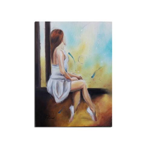 Γνησιος Πινακας Ζωγραφικης Κοπελα στο Παραθυρο,ελληνες ζωγραφοι