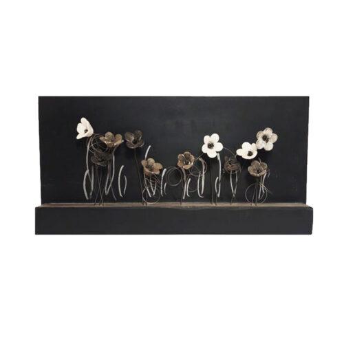 Χειροποιητο Ξυλινο Καδρο με Ασπρομαυρα Λουλουδια,διακοσμητικο τοιχου